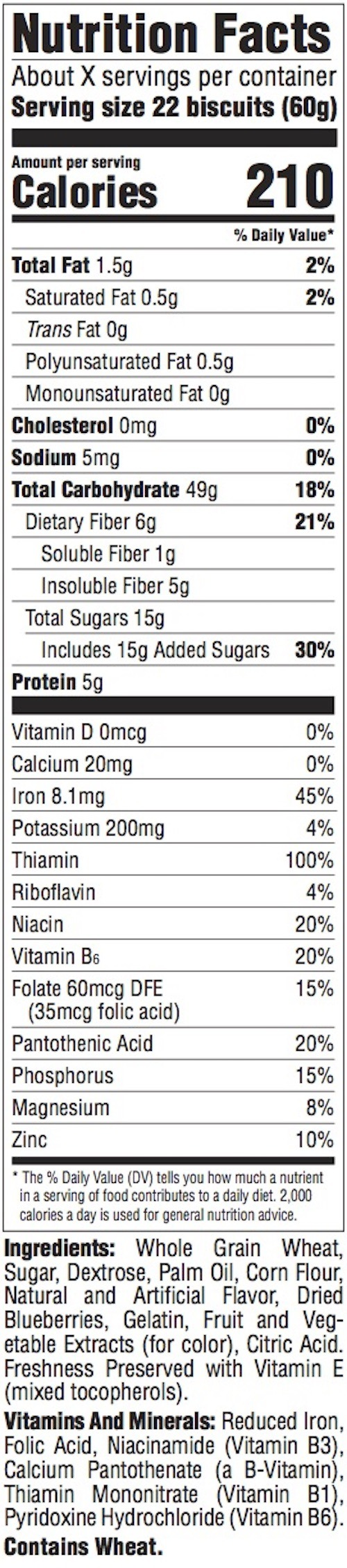 ORIGINAL BIG BISCUIT Nutrition Panel