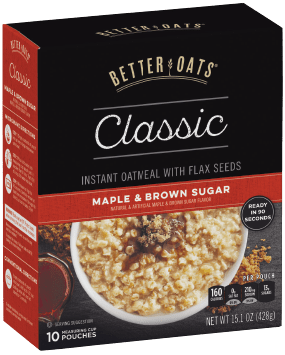 Packing of Better Oats Classic Maple & Brown Sugar